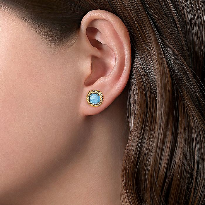 14K Yellow Gold Rock Crystal/White MOP/Turquoise Stud Earrings