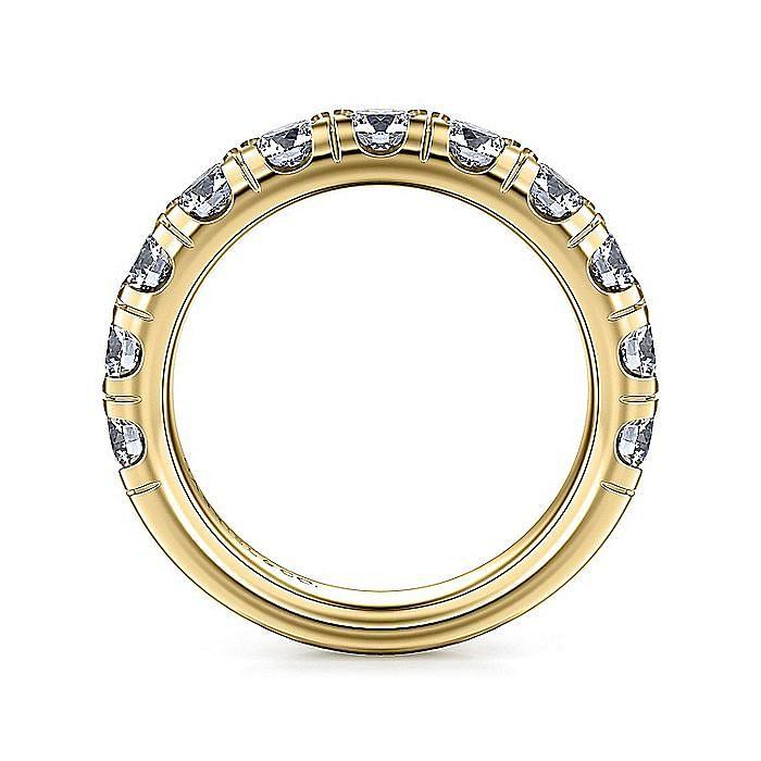 14K Yellow Gold Round 11 Stone Diamond Anniversary Band