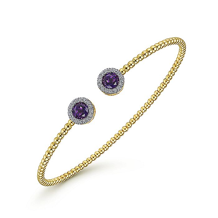 14K Yellow Gold Round Amethyst and Diamond Halo Bujukan Bangle