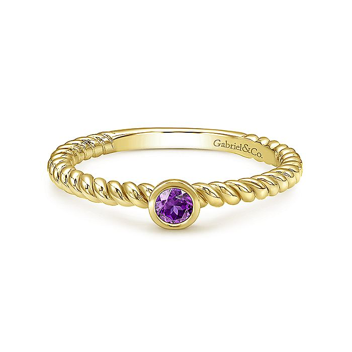 14K Yellow Gold Round Bezel Amethyst and Rope Shank Ring
