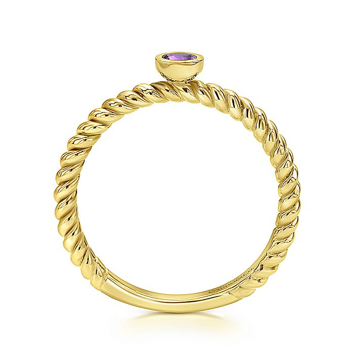14K Yellow Gold Round Bezel Set Amethyst Twisted Ring