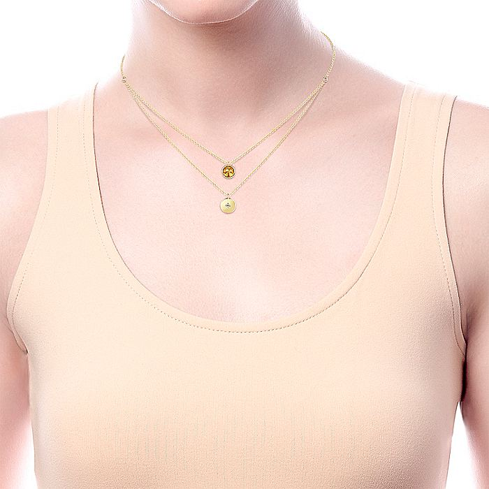 14K Yellow Gold Round Bezel Set Citrine and Diamond Disc Necklace