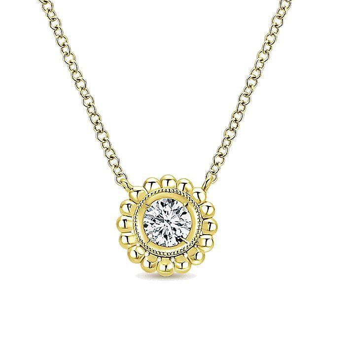 14K Yellow Gold Round Bezel Set Diamond Pendant Necklace with Beaded Frame