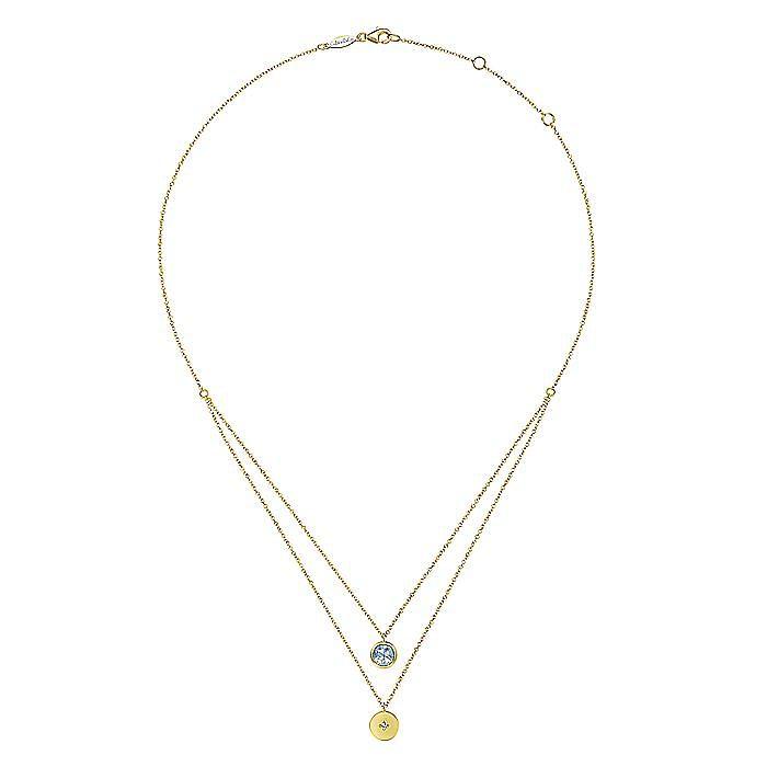 14K Yellow Gold Round Bezel Set Sky Blue Topaz and Diamond Disc Necklace