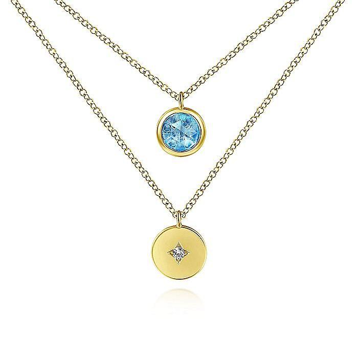 14K Yellow Gold Round Bezel Set Swiss Blue Topaz and Diamond Disc Necklace