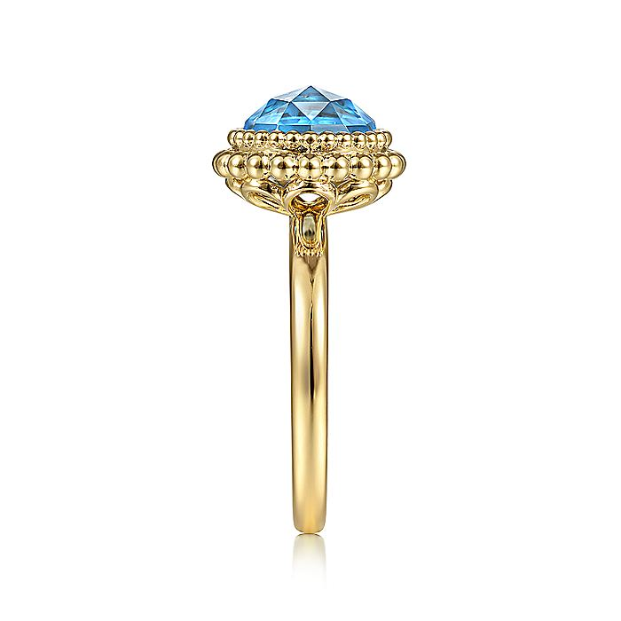 14K Yellow Gold Round Blue Topaz Bezel Set Ring with Bujukan Bead Halo