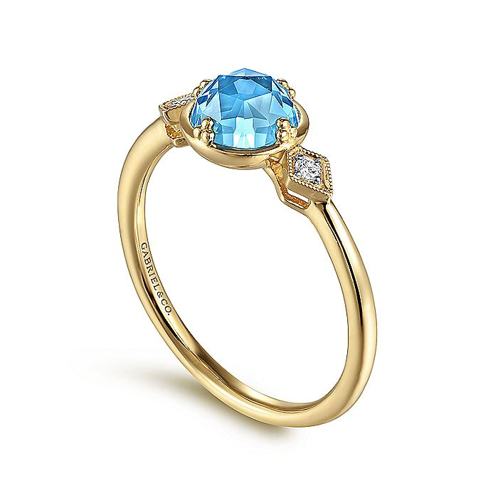 14K Yellow Gold Round Blue Topaz and Diamond Accent Ladies Ring