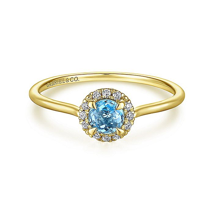 14K Yellow Gold Round Blue Topaz and Diamond Halo Ring