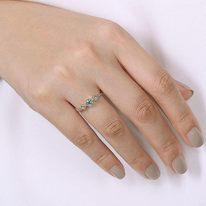 14K Yellow Gold Round Blue Topaz and Diamond Three Stone Ring