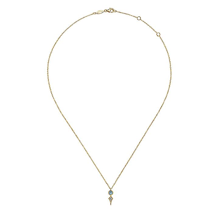 14K Yellow Gold Round Blue Topaz and Kite Diamond Pendant Necklace