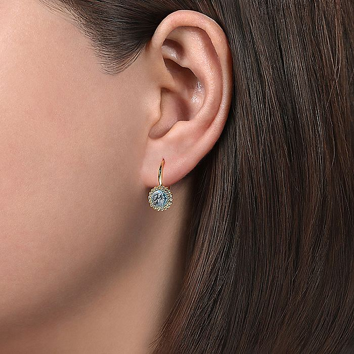 14K Yellow Gold Round Blue Topaz with Beaded Frame Leverback Earrings