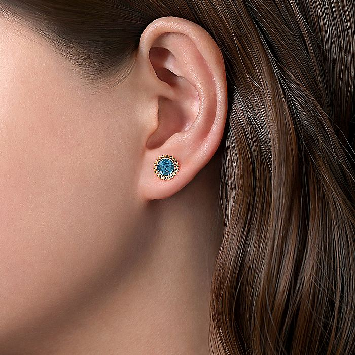 14K Yellow Gold Round Blue Topaz with Beaded Frame Stud Earrings