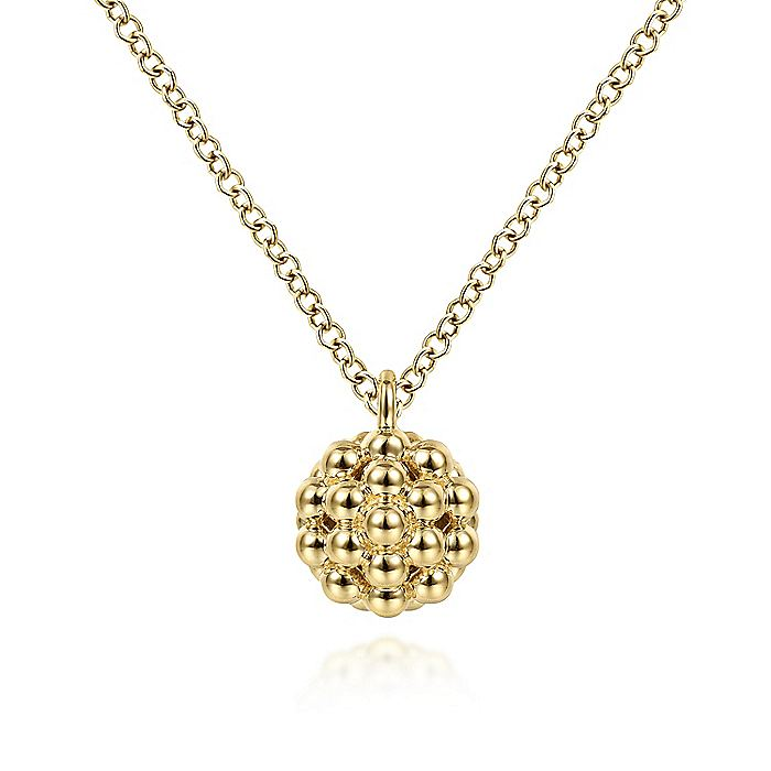 14K Yellow Gold Round Bujukan Bead Pendant Necklace
