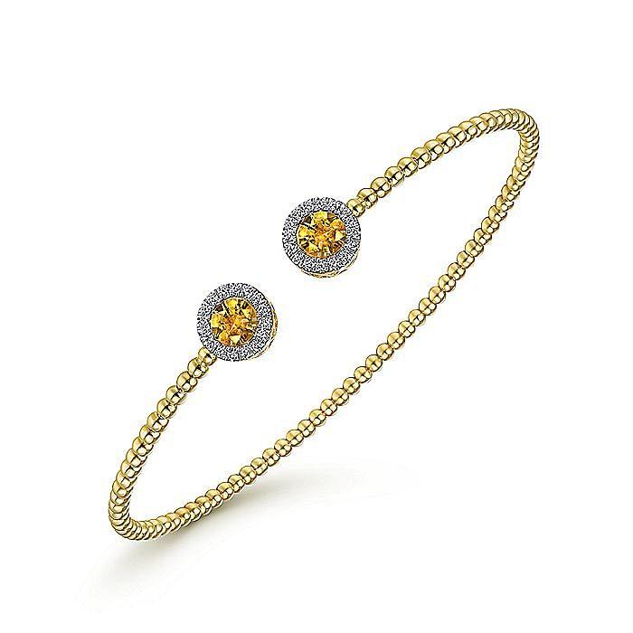 14K Yellow Gold Round Citrine and Diamond Halo Bujukan Bangle