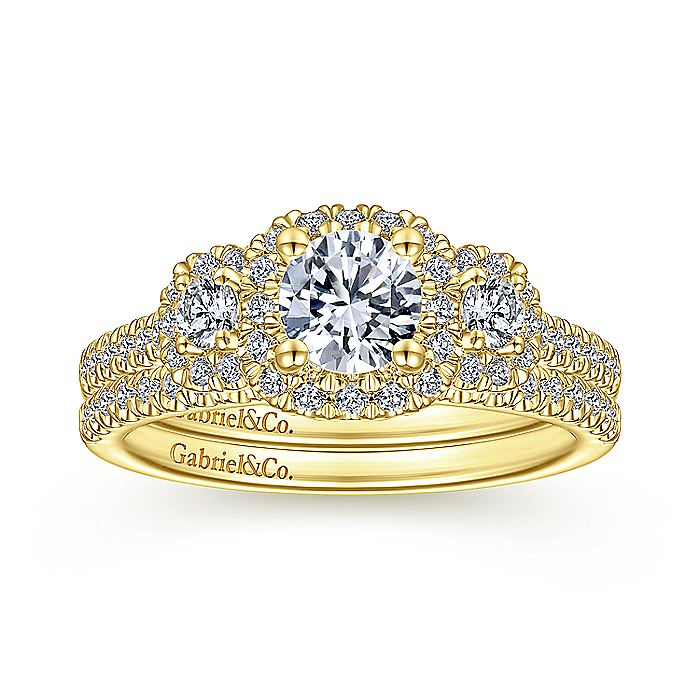 14K Yellow Gold Round Complete Diamond Engagement Ring