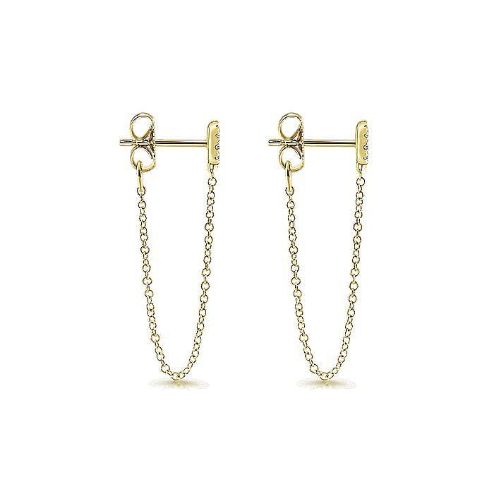 14K Yellow Gold Round Diamond Chain Link Stud Drop Earrings