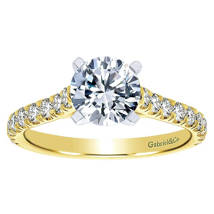 14K Yellow Gold Round Diamond Engagement Ring