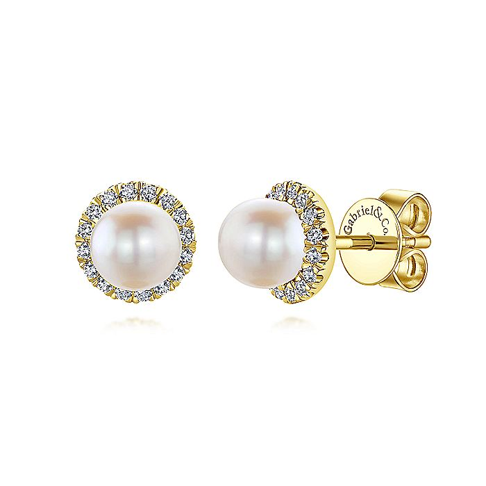 14K Yellow Gold Round Diamond Halo Pearl Stud Earrings