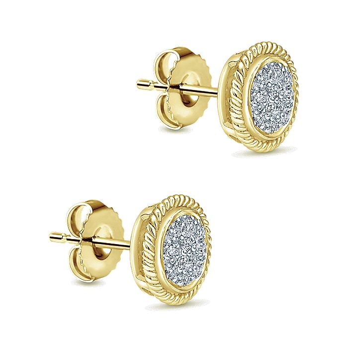 14K Yellow Gold Round Diamond Pavé Cluster Stud Earrings With Twisted Rope Frame