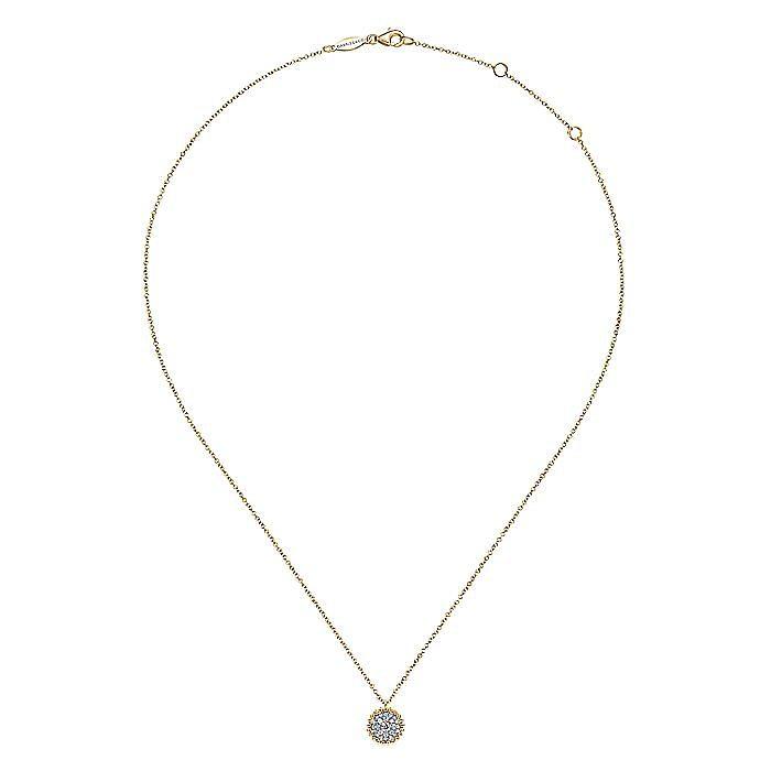 14K Yellow Gold Round Diamond Pavé Pendant Necklace with Bujukan Bead Frame