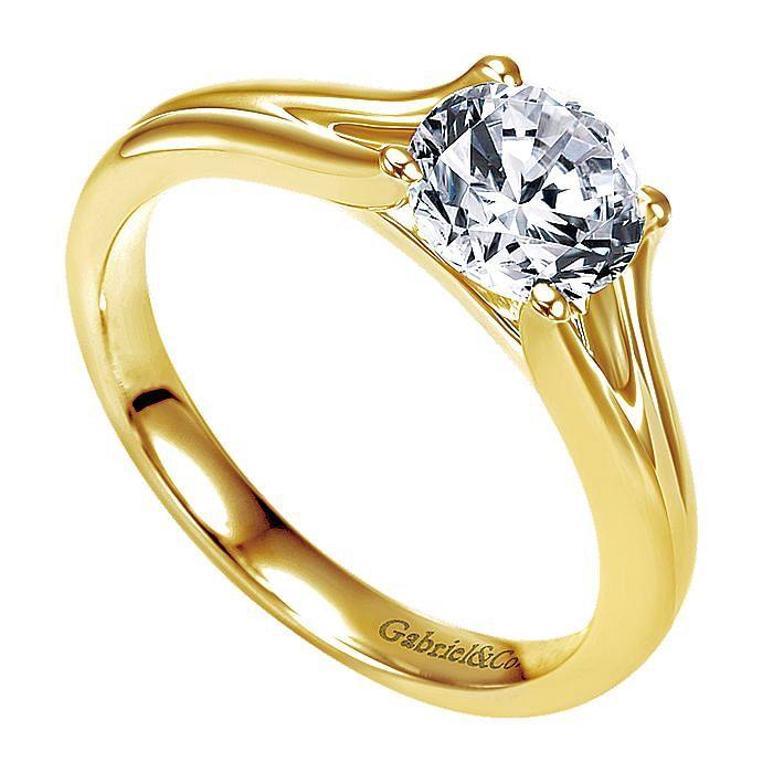14K Yellow Gold Round Diamond Split Shank Engagement Ring