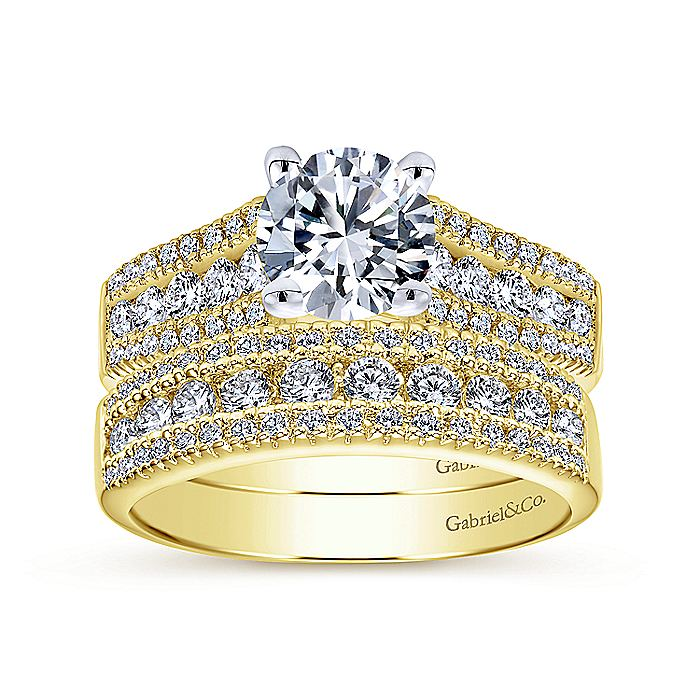 14K Yellow Gold Round Diamond Wide Band Engagement Ring