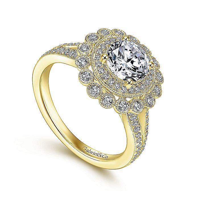 14K Yellow Gold Round Double Halo Diamond Engagement Ring