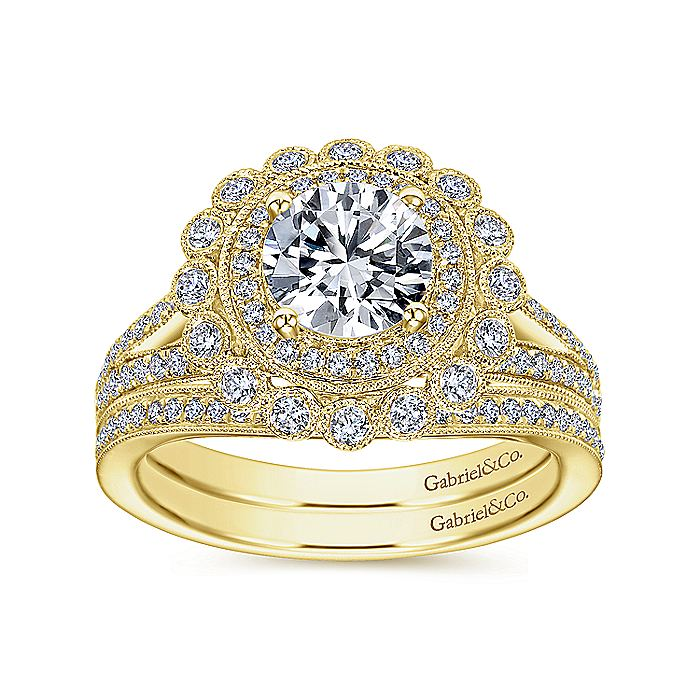 14K Yellow Gold Round Double Halo Diamond Engagement Ring