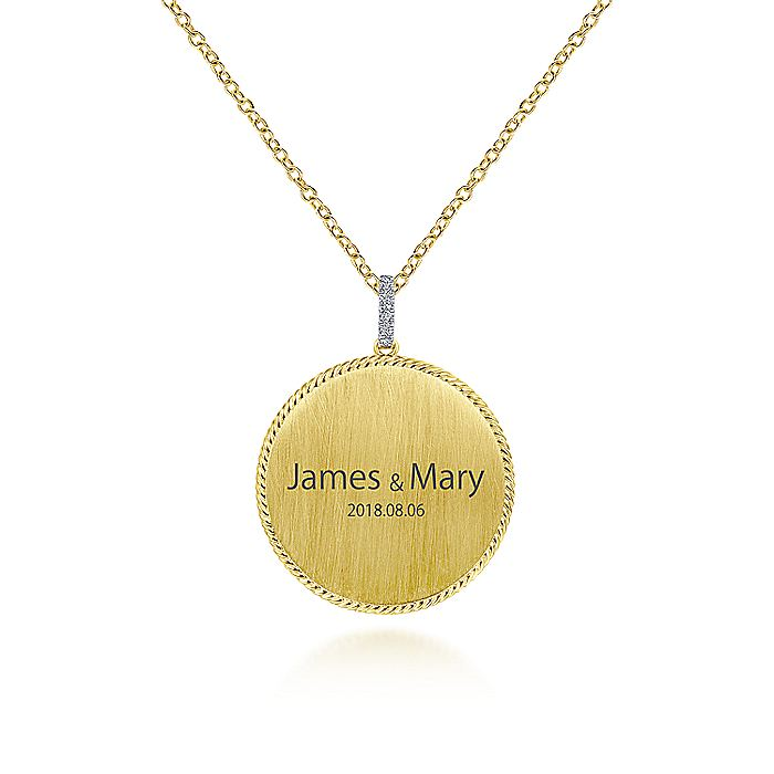 14K Yellow Gold Round Engravable Pendant Necklace with Diamond Bale