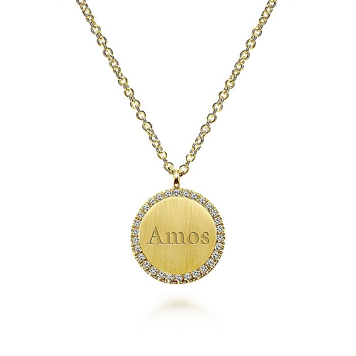 14K Yellow Gold Round Engravable Pendant Necklace with Diamond Halo