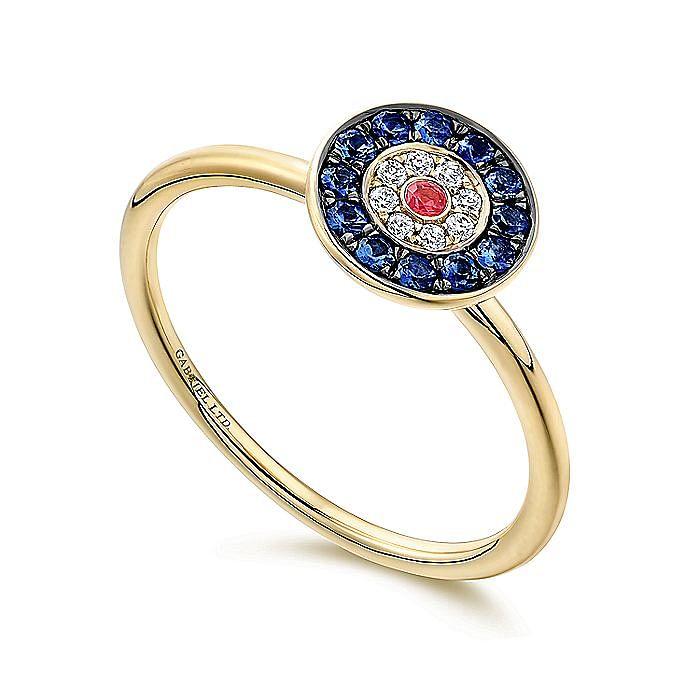 14K Yellow Gold Round Evil Eye Diamond, Sapphire and Ruby Ring