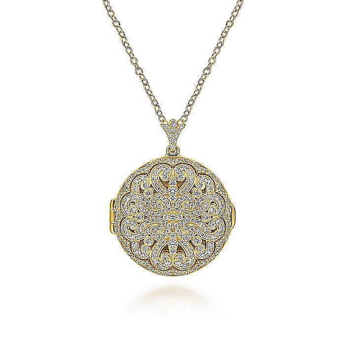 14K Yellow Gold Round Filigree and Diamond Locket Necklace