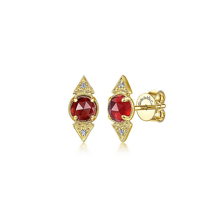 14K Yellow Gold Round Garnet and Diamond Stud Earrings