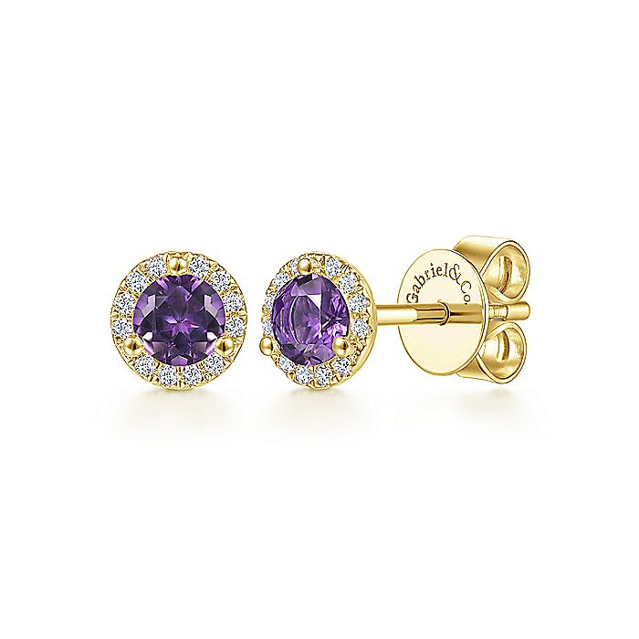 14K Yellow Gold Round Halo Amethyst and Diamond Stud Earrings