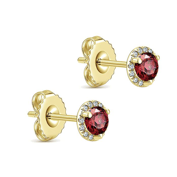 14K Yellow Gold Round Halo Garnet and Diamond Stud Earrings