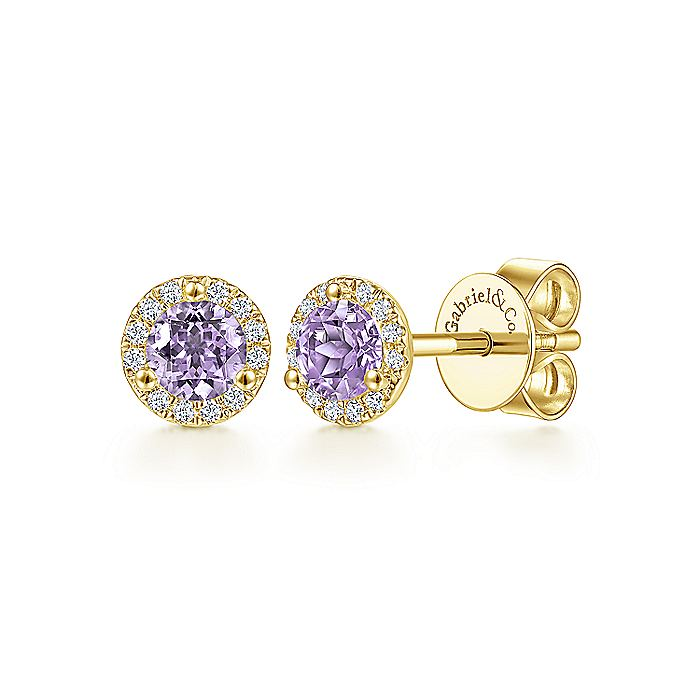 14K Yellow Gold Round Halo Pink Amethyst and Diamond Stud Earrings