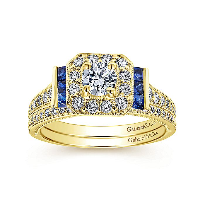 14K Yellow Gold Round Halo Sapphire and Diamond Engagement Ring
