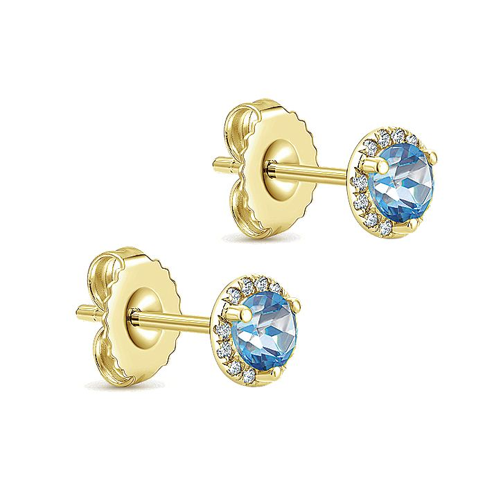 14K Yellow Gold Round Halo Swiss Blue Topaz and Diamond Stud Earrings