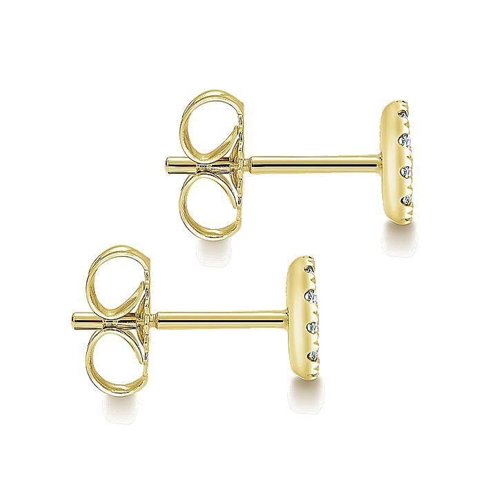 14K Yellow Gold Round Pavé Diamond Stud Earrings