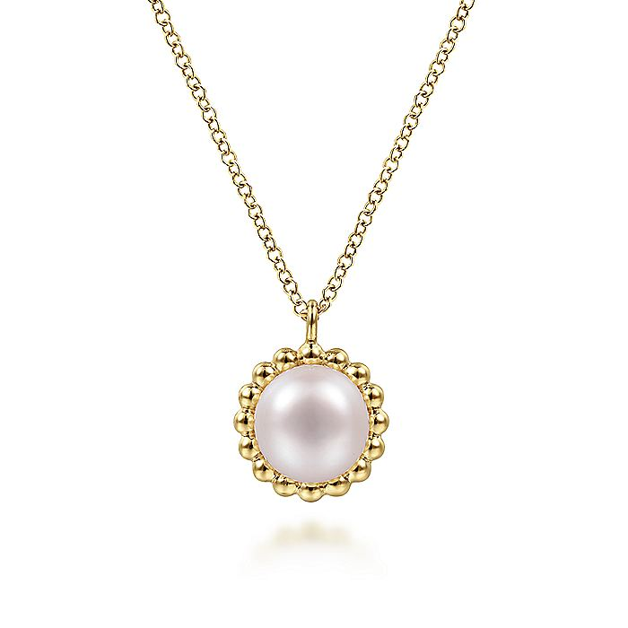 14K Yellow Gold Round Pearl Pendant Necklace with Bujukan Beaded Frame