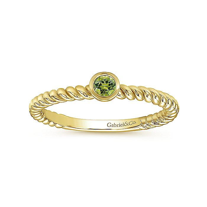 14K Yellow Gold Round Peridot Ring with Twisted Rope Shank