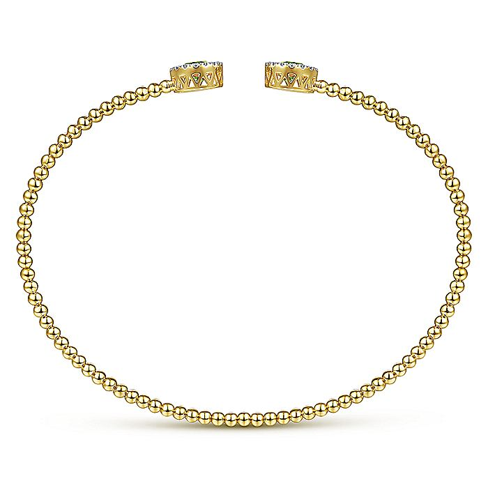 14K Yellow Gold Round Peridot and Diamond Halo Bujukan Bangle
