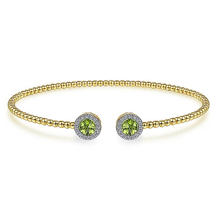 14K Yellow Gold Round Peridot and Diamond Halo Bujukan Bangle