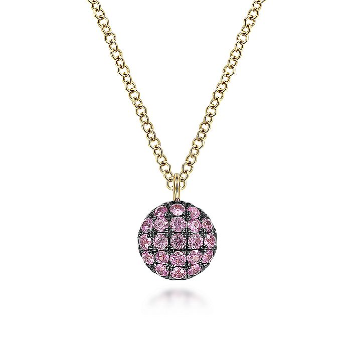 14K Yellow Gold Round Pink Sapphire Pendant Necklace