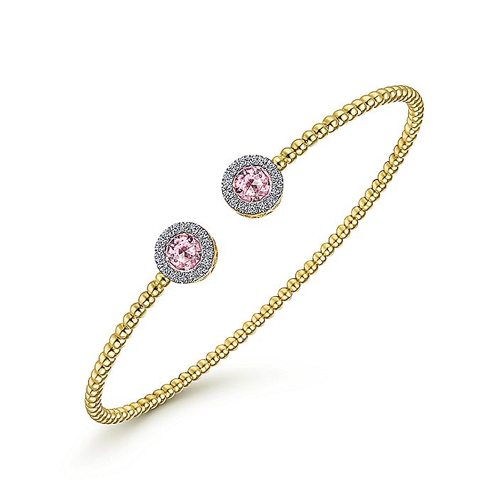14K Yellow Gold Round Pink Zircon and Diamond Halo Bujukan Bangle