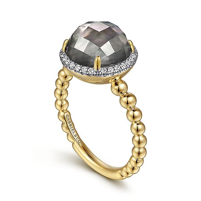 14K Yellow Gold Round Rock Crystal/Black Pearl and Diamond Halo Ring