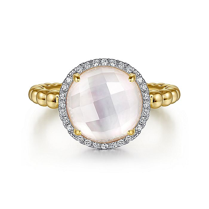 14K Yellow Gold Round Rock Crystal/MOP and Diamond Halo Ring