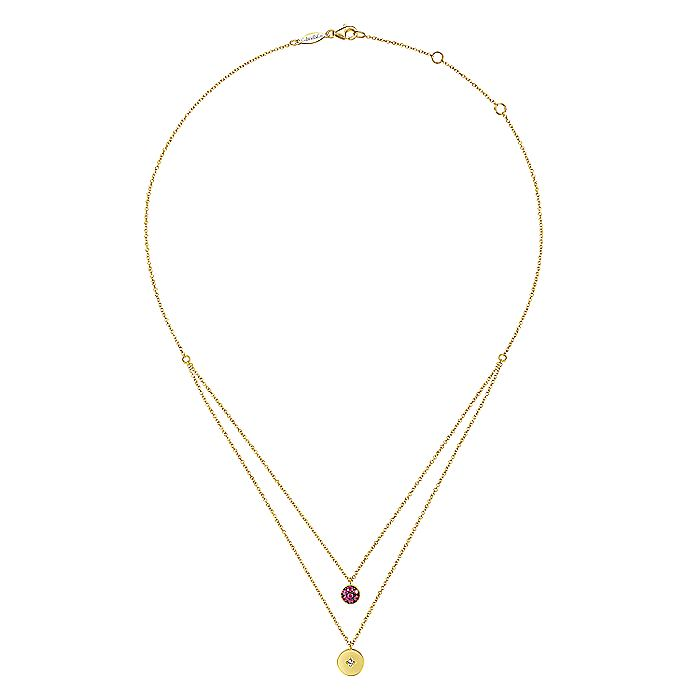 14K Yellow Gold Round Ruby Pavé and Diamond Disc Necklace