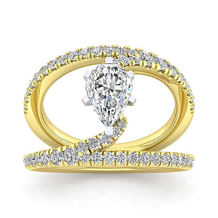 14K Yellow Gold Round Split Shank Diamond Engagement Ring