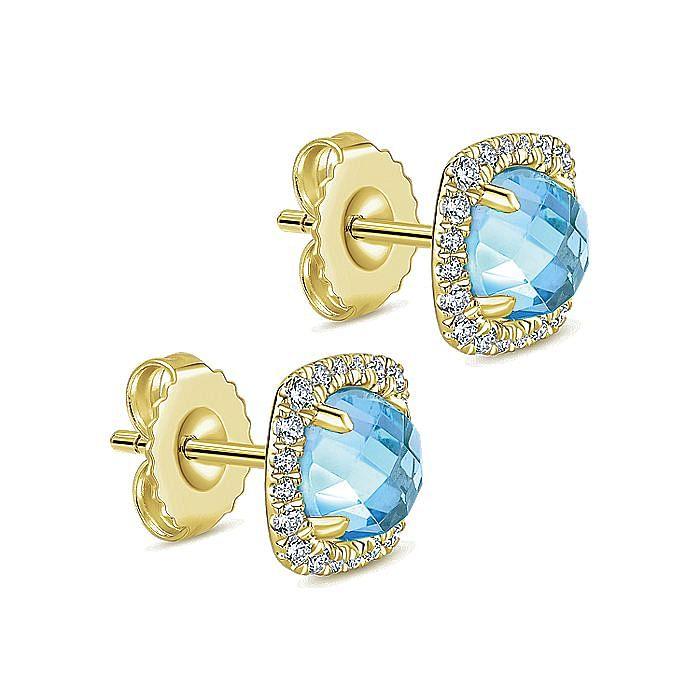 14K Yellow Gold Round Swiss Blue Topaz Cushion Diamond Halo Stud Earrings